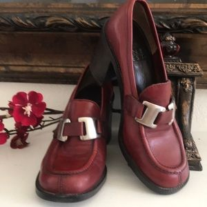 Brick red leather NINE WEST moccasins shoes